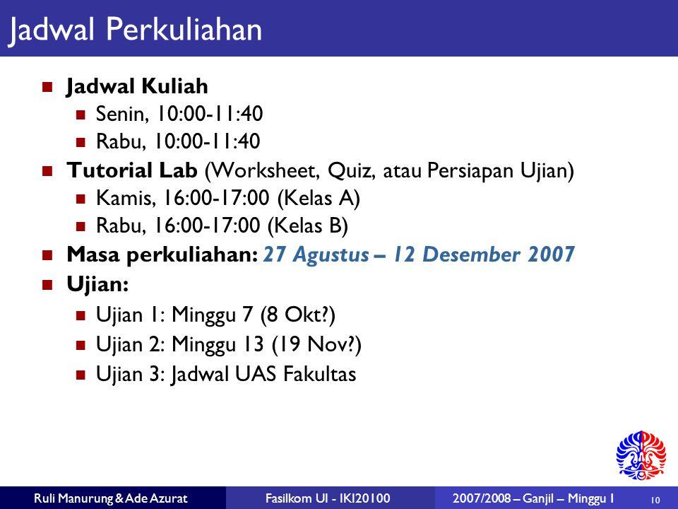 10 Ruli Manurung & Ade AzuratFasilkom UI - IKI201002007/2008 – Ganjil – Minggu 1 Jadwal Perkuliahan Jadwal Kuliah Senin, 10:00-11:40 Rabu, 10:00-11:40