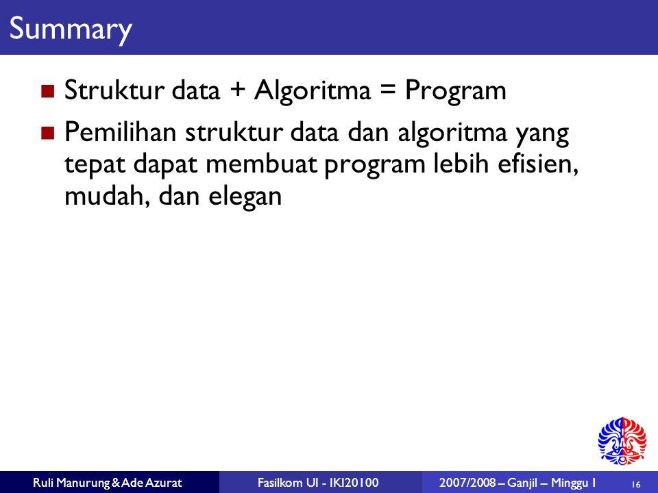 16 Ruli Manurung & Ade AzuratFasilkom UI - IKI201002007/2008 – Ganjil – Minggu 1 Summary Struktur data + Algoritma = Program Pemilihan struktur data d