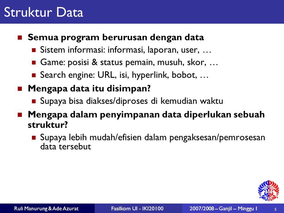 5 Ruli Manurung & Ade AzuratFasilkom UI - IKI201002007/2008 – Ganjil – Minggu 1 Struktur Data Semua program berurusan dengan data Sistem informasi: in