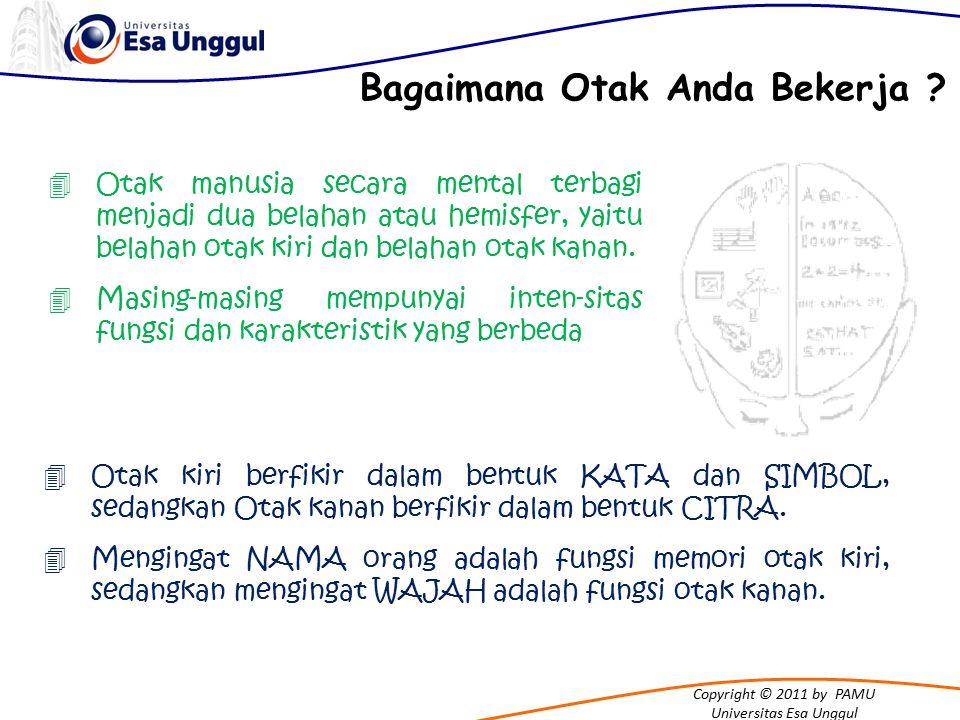 Copyright © 2011 by PAMU Universitas Esa Unggul 4Otak manusia secara mental terbagi menjadi dua belahan atau hemisfer, yaitu belahan otak kiri dan belahan otak kanan.