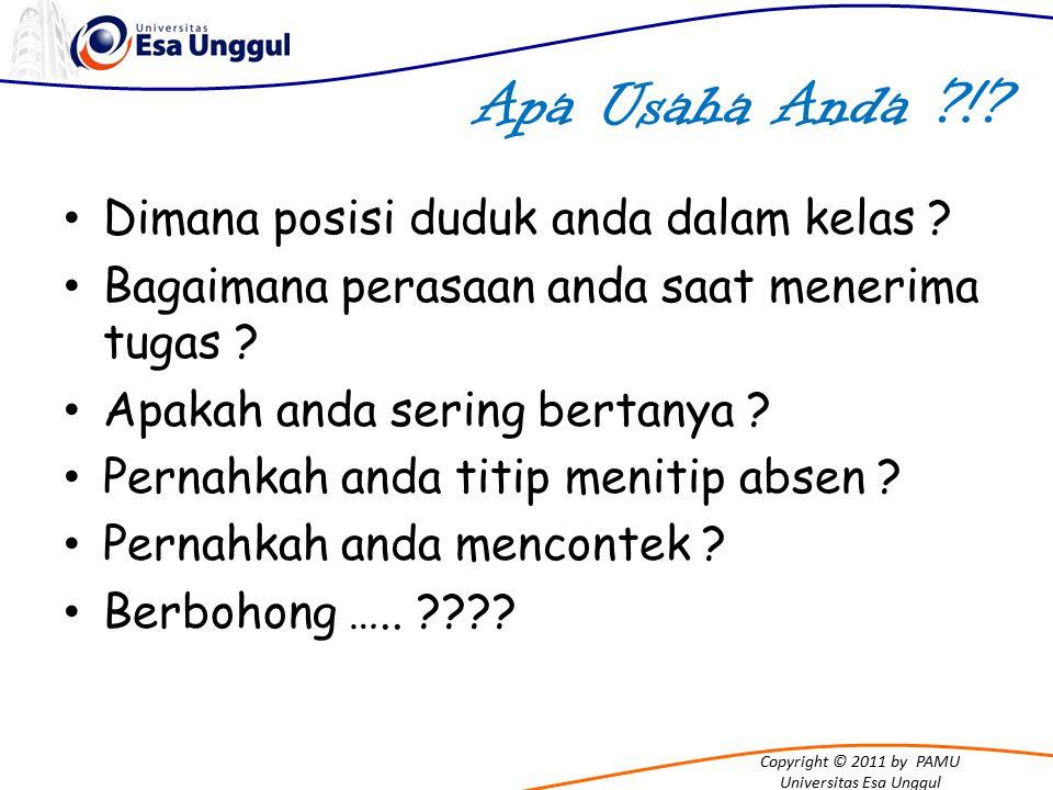Copyright © 2011 by PAMU Universitas Esa Unggul Pikiran Sadar BOHONG = DOSA Persaanku sangat sedih, berdosa, hina, jahat.......