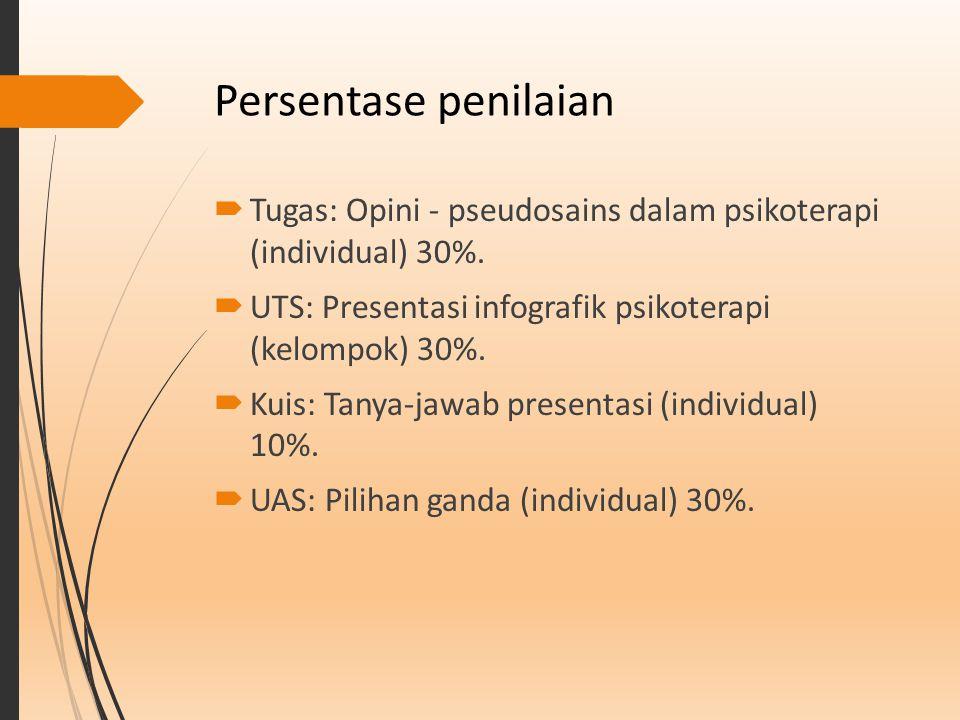 Persentase penilaian  Tugas: Opini - pseudosains dalam psikoterapi (individual) 30%.  UTS: Presentasi infografik psikoterapi (kelompok) 30%.  Kuis: