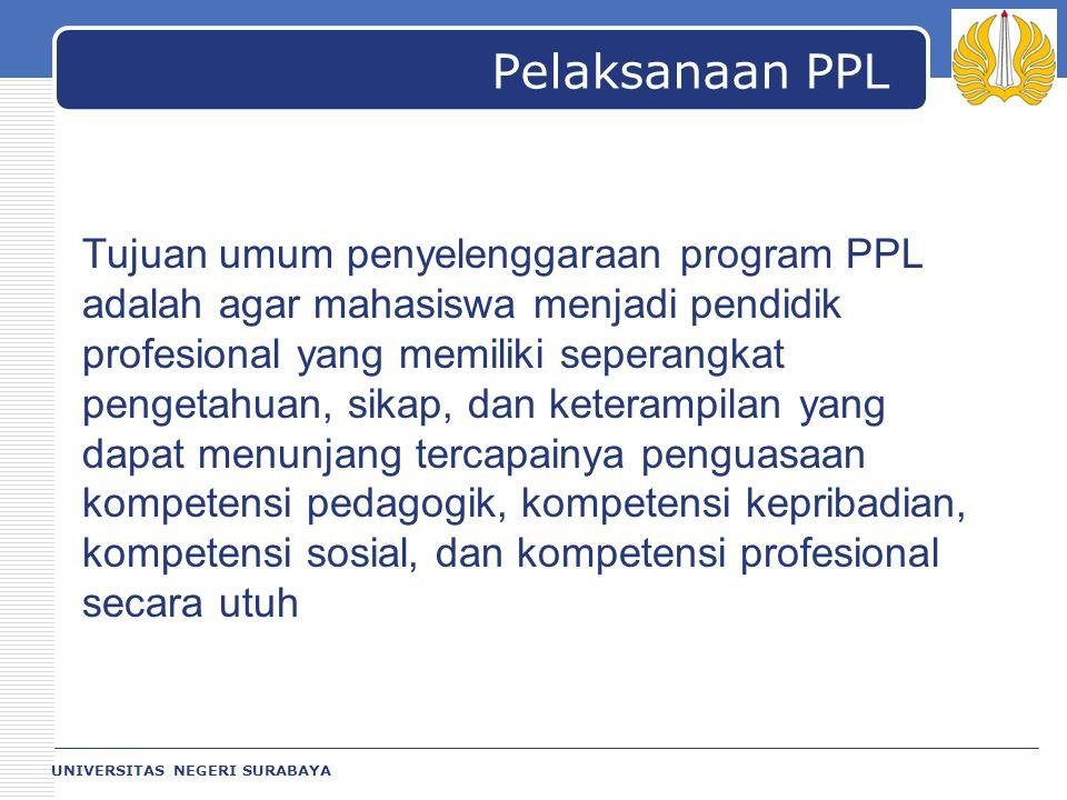 LOGO UNIVERSITAS NEGERI SURABAYA Pelaksanaan PPL Tujuan umum penyelenggaraan program PPL adalah agar mahasiswa menjadi pendidik profesional yang memil