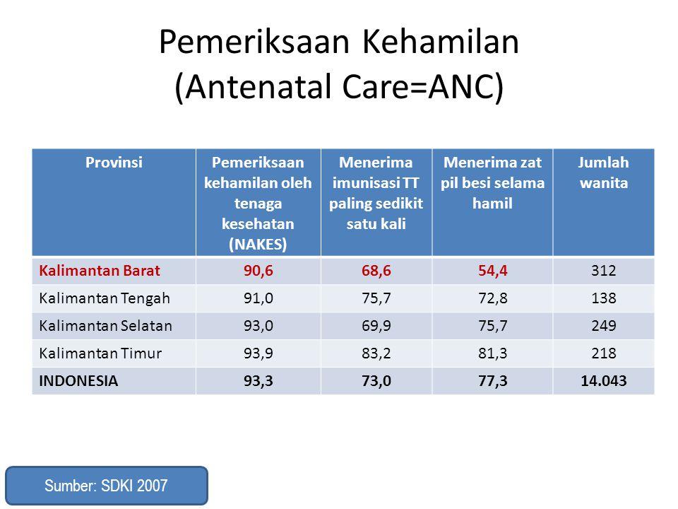 Pemeriksaan Kehamilan (Antenatal Care=ANC) ProvinsiPemeriksaan kehamilan oleh tenaga kesehatan (NAKES) Menerima imunisasi TT paling sedikit satu kali