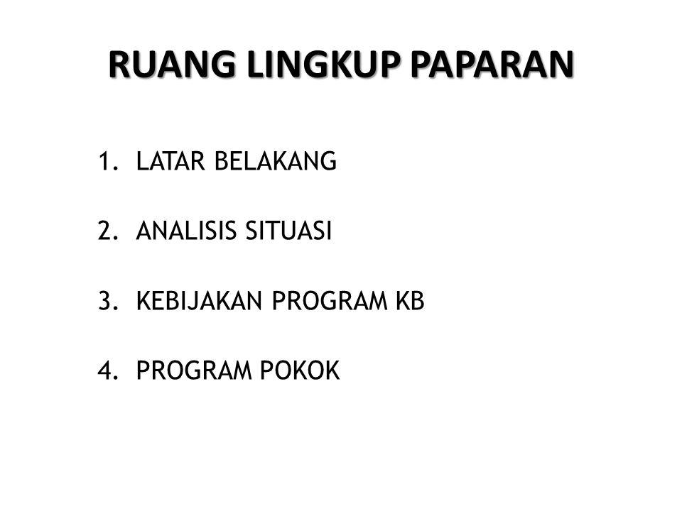 RUANG LINGKUP PAPARAN 1.LATAR BELAKANG 2.ANALISIS SITUASI 3.KEBIJAKAN PROGRAM KB 4.PROGRAM POKOK