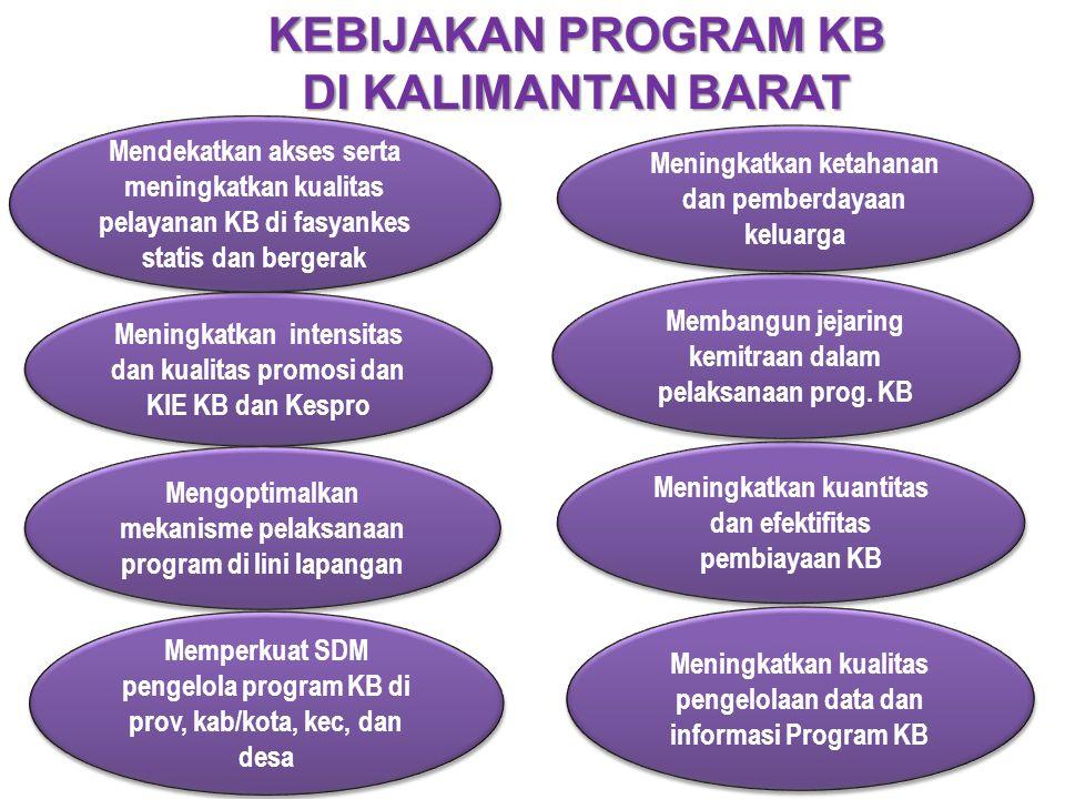 Meningkatkan intensitas dan kualitas promosi dan KIE KB dan Kespro Mendekatkan akses serta meningkatkan kualitas pelayanan KB di fasyankes statis dan