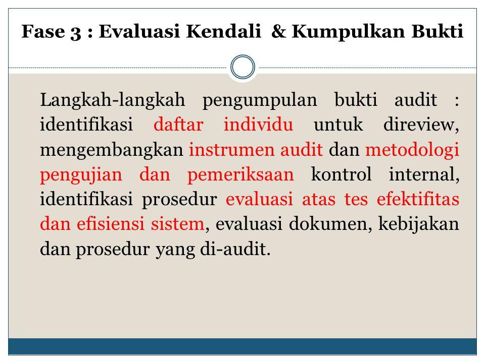 Langkah-langkah pengumpulan bukti audit : identifikasi daftar individu untuk direview, mengembangkan instrumen audit dan metodologi pengujian dan peme