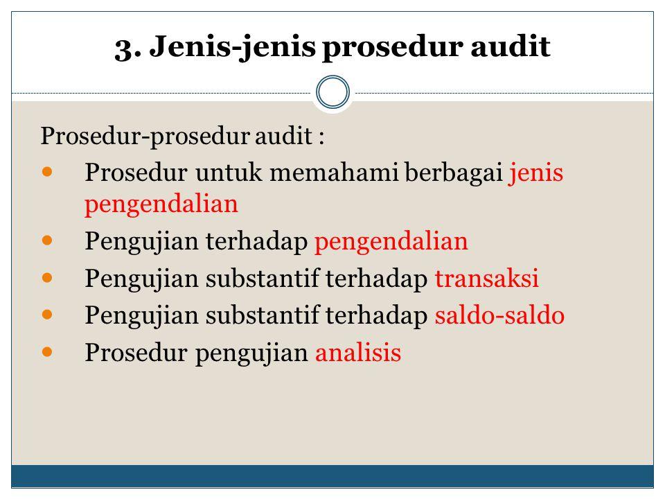 3. Jenis-jenis prosedur audit Prosedur-prosedur audit : Prosedur untuk memahami berbagai jenis pengendalian Pengujian terhadap pengendalian Pengujian