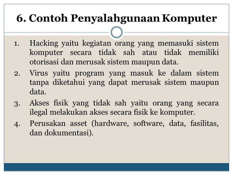6. Contoh Penyalahgunaan Komputer 1.Hacking yaitu kegiatan orang yang memasuki sistem komputer secara tidak sah atau tidak memiliki otorisasi dan meru