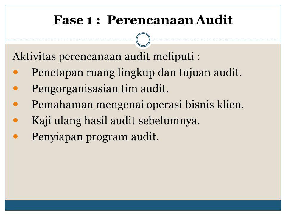 Fase 1 : Perencanaan Audit Aktivitas perencanaan audit meliputi : Penetapan ruang lingkup dan tujuan audit. Pengorganisasian tim audit. Pemahaman meng