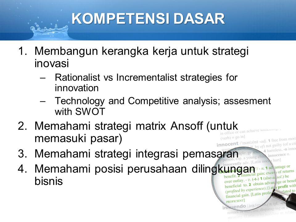 KOMPETENSI DASAR 1.Membangun kerangka kerja untuk strategi inovasi –Rationalist vs Incrementalist strategies for innovation –Technology and Competitiv