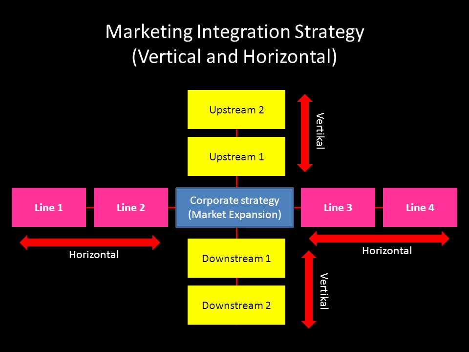 Marketing Integration Strategy (Vertical and Horizontal) Corporate strategy (Market Expansion) Upstream 1 Upstream 2 Downstream 2 Downstream 1 Line 3Line 4Line 1Line 2 Horizontal Vertikal