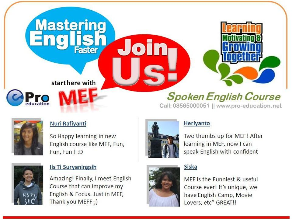 Rahasia SUKSES Belajar Bahasa Inggris dengan Mudah, Cepat & Menyenangkan MEF (Mastering English Faster) – English Short Course Satu-satu Pelatihan yang menggunakan Talk A Lot English System'.