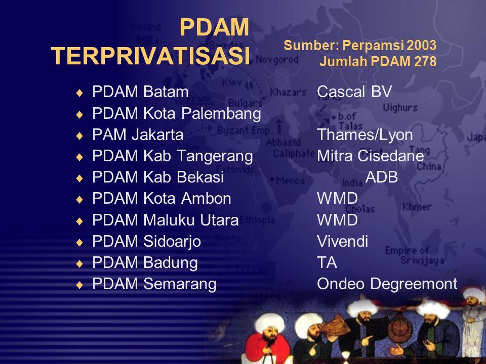 PDAM TERPRIVATISASI  PDAM BatamCascal BV  PDAM Kota Palembang  PAM JakartaThames/Lyon  PDAM Kab TangerangMitra Cisedane  PDAM Kab BekasiADB  PDA