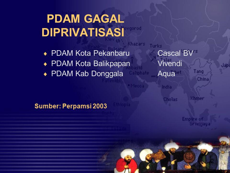 KASUS PRIVATISASI PAM JAYA  Privatisasi melibatkan Bank Dunia  Dilakukan penuh nuansa KKN  Kinerja PAM Jaya lebih buruk (Kualitas air menurun, tetap keruh dan berbau tak sedap, sumbangan untuk PAD nol – sebelumnya 97/98 2 milyar rupiah, penambahan pelanggan merosot 97 – 63.934, 98 – 5.804  Menimbulkan utang Rp 4,071 trilyun  Subsidi pemerintah untuk PAM Jaya akibat privatisasi sejak 1999 – 2002 diperkirakan mencapai Rp 910 milyar Sumber: Pemda DKI 2002