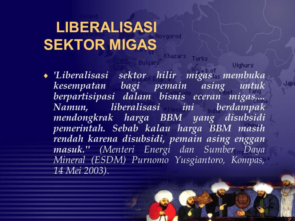 LIBERALISASI SEKTOR MIGAS  'Liberalisasi sektor hilir migas membuka kesempatan bagi pemain asing untuk berpartisipasi dalam bisnis eceran migas.... N