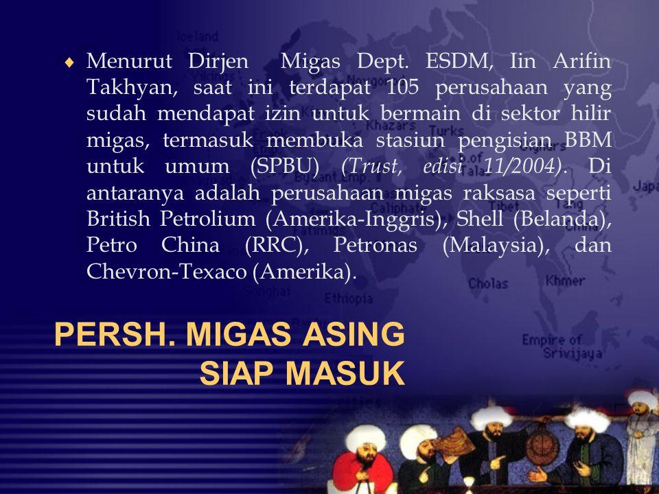PERSH. MIGAS ASING SIAP MASUK  Menurut Dirjen Migas Dept. ESDM, Iin Arifin Takhyan, saat ini terdapat 105 perusahaan yang sudah mendapat izin untuk b