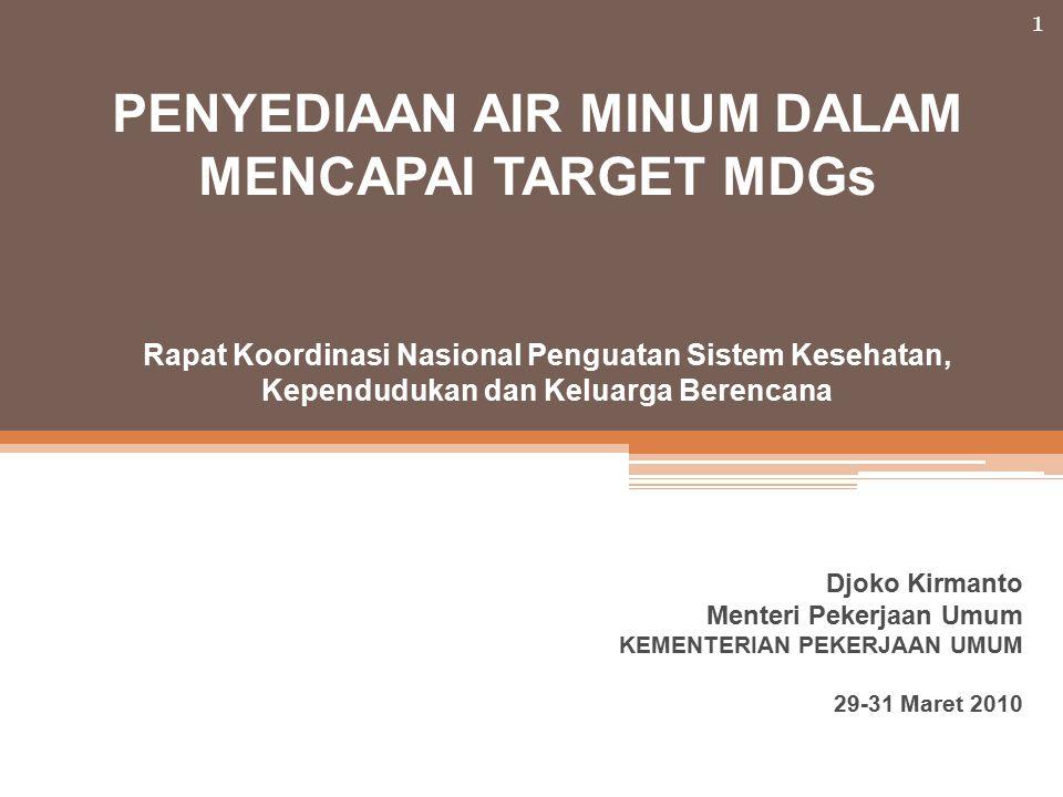 1 Djoko Kirmanto Menteri Pekerjaan Umum KEMENTERIAN PEKERJAAN UMUM 29-31 Maret 2010 PENYEDIAAN AIR MINUM DALAM MENCAPAI TARGET MDGs Rapat Koordinasi Nasional Penguatan Sistem Kesehatan, Kependudukan dan Keluarga Berencana