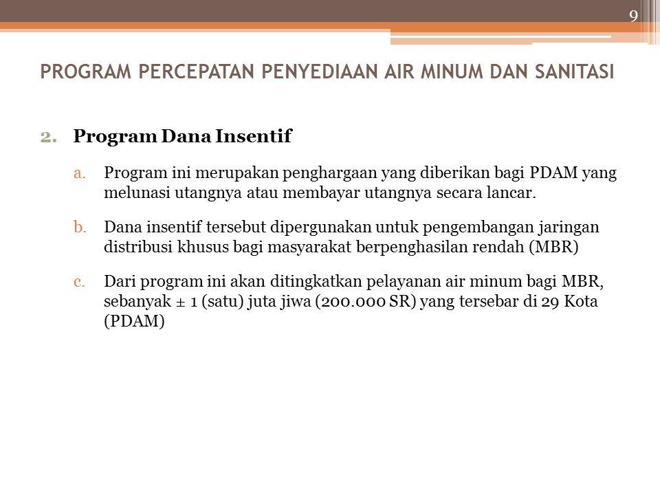 9 2.Program Dana Insentif a.Program ini merupakan penghargaan yang diberikan bagi PDAM yang melunasi utangnya atau membayar utangnya secara lancar.