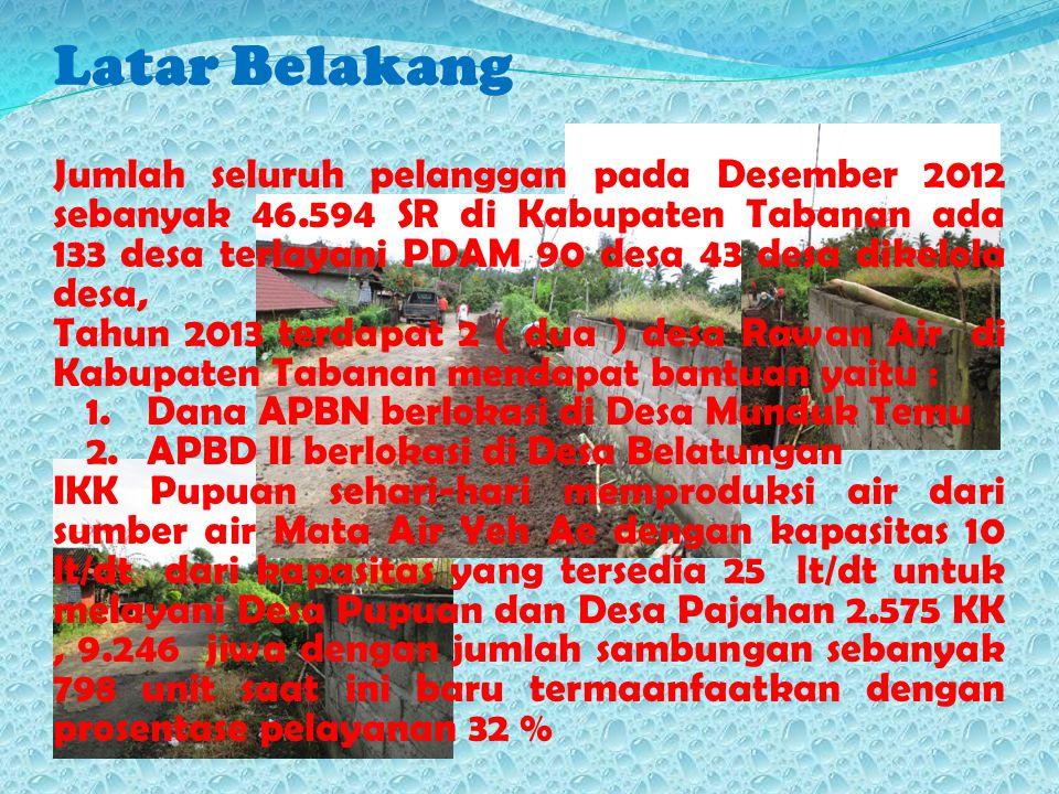 Kondisi SPAM Existing IKK Pupuan yang sehari – hari dari sumber air produksi Mata Air Yeh Ae dengan kapasitas 10 lt/dt melayani Desa Pupuan, Desa Pajahan dan Desa Pajahan 2.575 KK, 9.246 jiwa dengan jumlah sambungan sebanyak 798 unit saat ini baru termaanfaatkan 10 lt/dt dengan prosentase pelayanan 32 % ( Desa Munduk Temu masih belum mendapatkan layanan air minum )