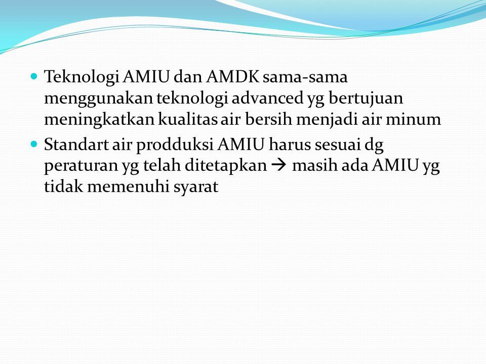 Teknologi AMIU dan AMDK sama-sama menggunakan teknologi advanced yg bertujuan meningkatkan kualitas air bersih menjadi air minum Standart air prodduks