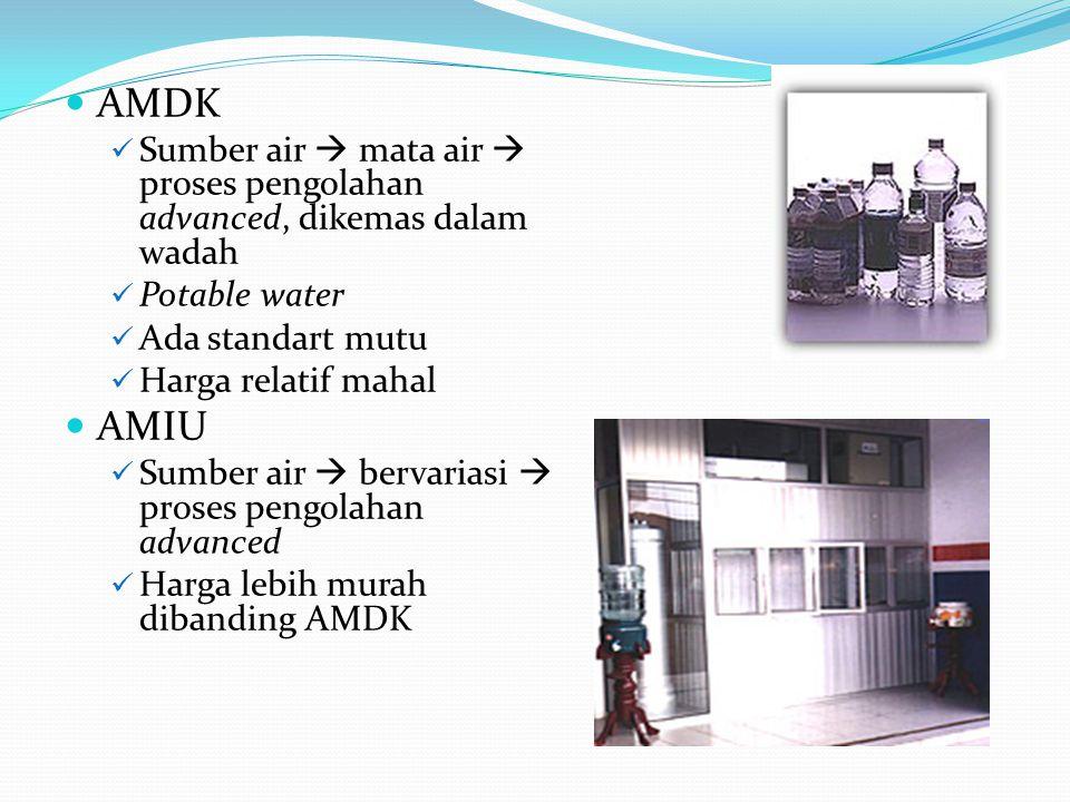AMDK Sumber air  mata air  proses pengolahan advanced, dikemas dalam wadah Potable water Ada standart mutu Harga relatif mahal AMIU Sumber air  ber