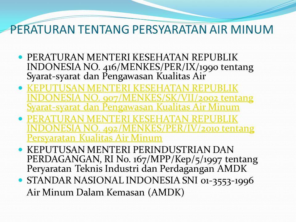 PERATURAN TENTANG PERSYARATAN AIR MINUM PERATURAN MENTERI KESEHATAN REPUBLIK INDONESIA NO. 416/MENKES/PER/IX/1990 tentang Syarat-syarat dan Pengawasan