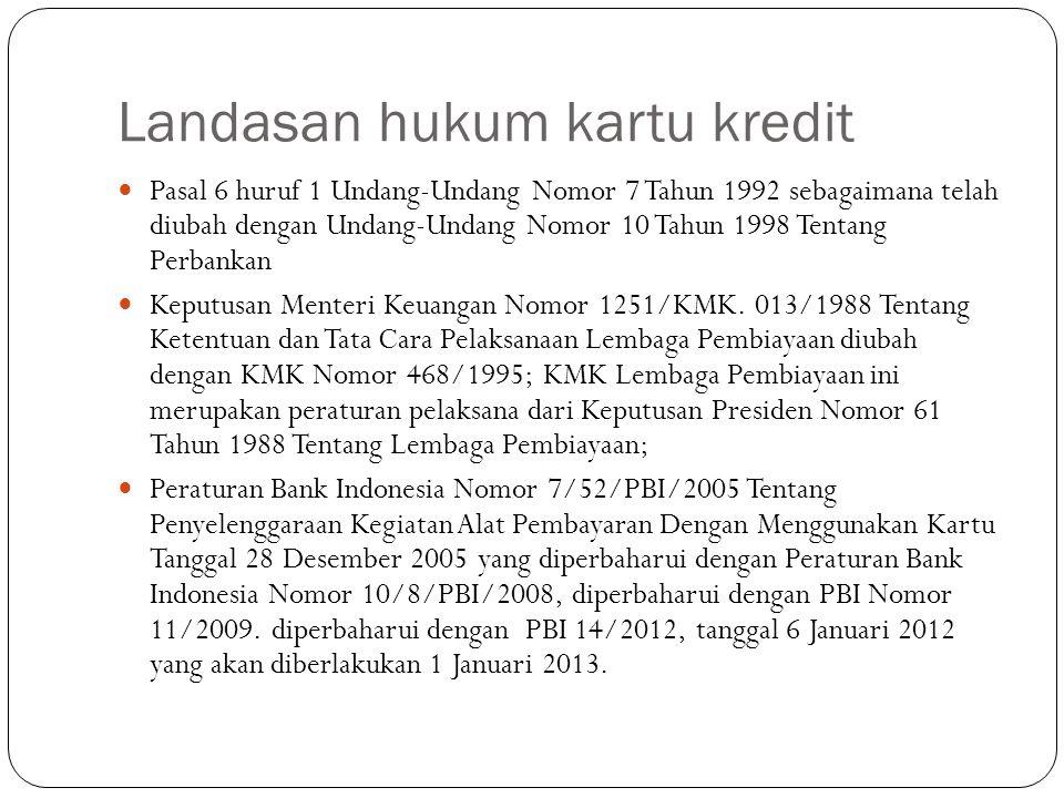 Pokok pengaturan dalam perubahan PBI NO.14/2/PBI/2012 tentang APMK Pengaturan batas maksimum suku bunga Kartu Kredit, yang besarnya ditetapkan Bank Indonesia dengan Surat Edaran Bank Indonesia.