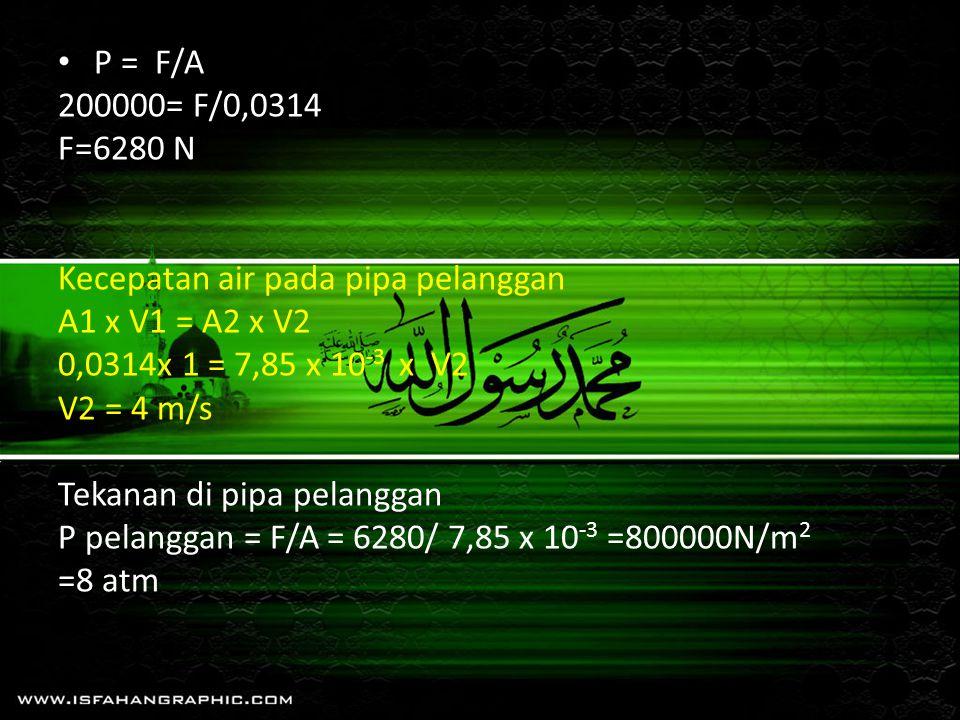 P = F/A 200000= F/0,0314 F=6280 N Kecepatan air pada pipa pelanggan A1 x V1 = A2 x V2 0,0314x 1 = 7,85 x 10 -3 x V2 V2 = 4 m/s Tekanan di pipa pelangg