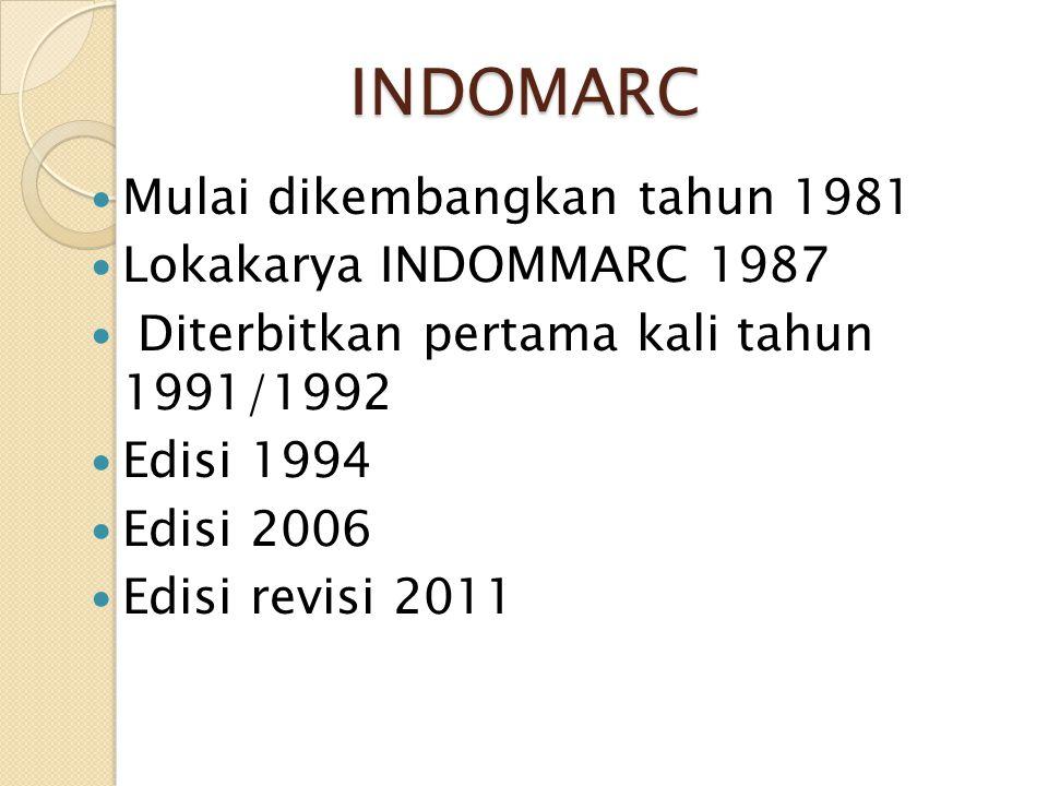 INDOMARC Mulai dikembangkan tahun 1981 Lokakarya INDOMMARC 1987 Diterbitkan pertama kali tahun 1991/1992 Edisi 1994 Edisi 2006 Edisi revisi 2011