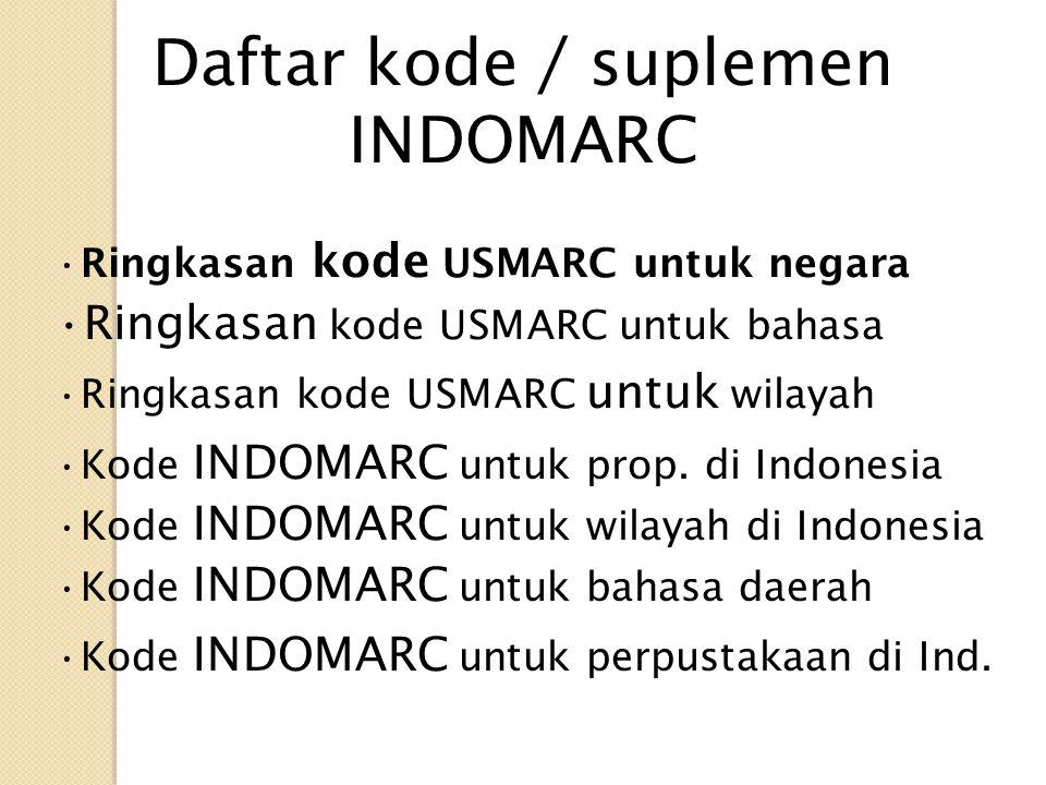 Daftar kode / suplemen INDOMARC Ringkasan kode USMARC untuk negara Ringkasan kode USMARC untuk bahasa Ringkasan kode USMARC untuk wilayah Kode INDOMAR