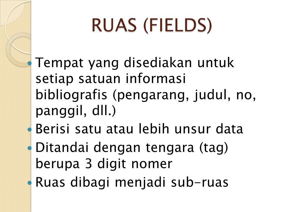 RUAS (FIELDS) RUAS (FIELDS) Tempat yang disediakan untuk setiap satuan informasi bibliografis (pengarang, judul, no, panggil, dll.) Berisi satu atau l