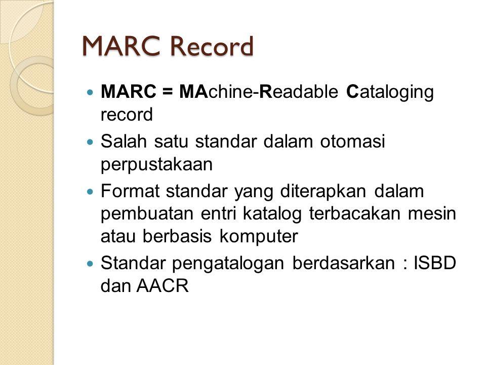 MARC Record MARC = MAchine-Readable Cataloging record Salah satu standar dalam otomasi perpustakaan Format standar yang diterapkan dalam pembuatan ent