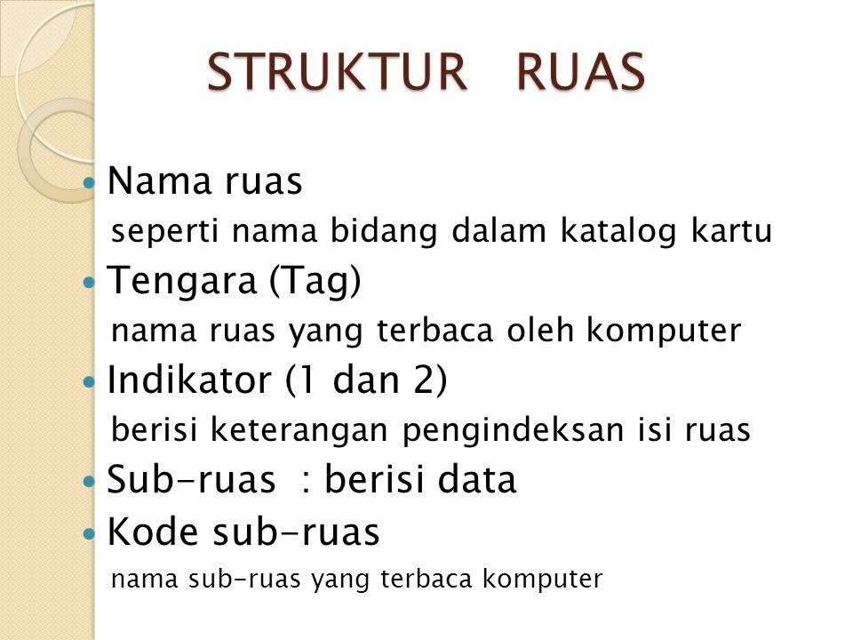 STRUKTUR RUAS Nama ruas seperti nama bidang dalam katalog kartu Tengara (Tag) nama ruas yang terbaca oleh komputer Indikator (1 dan 2) berisi keterang