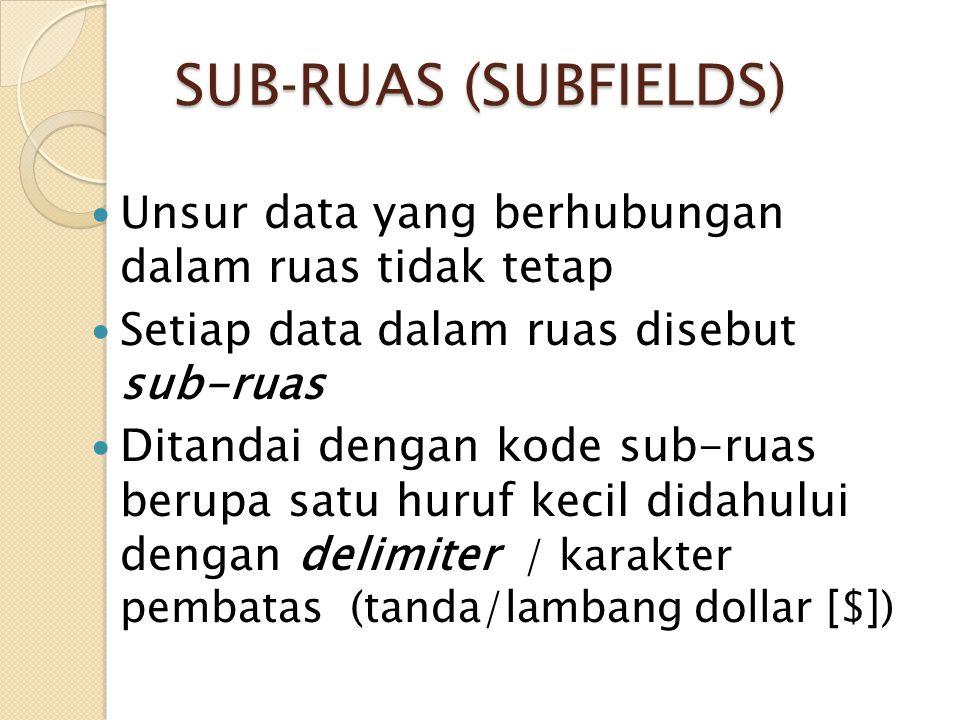 SUB-RUAS (SUBFIELDS) Unsur data yang berhubungan dalam ruas tidak tetap Setiap data dalam ruas disebut sub-ruas Ditandai dengan kode sub-ruas berupa s