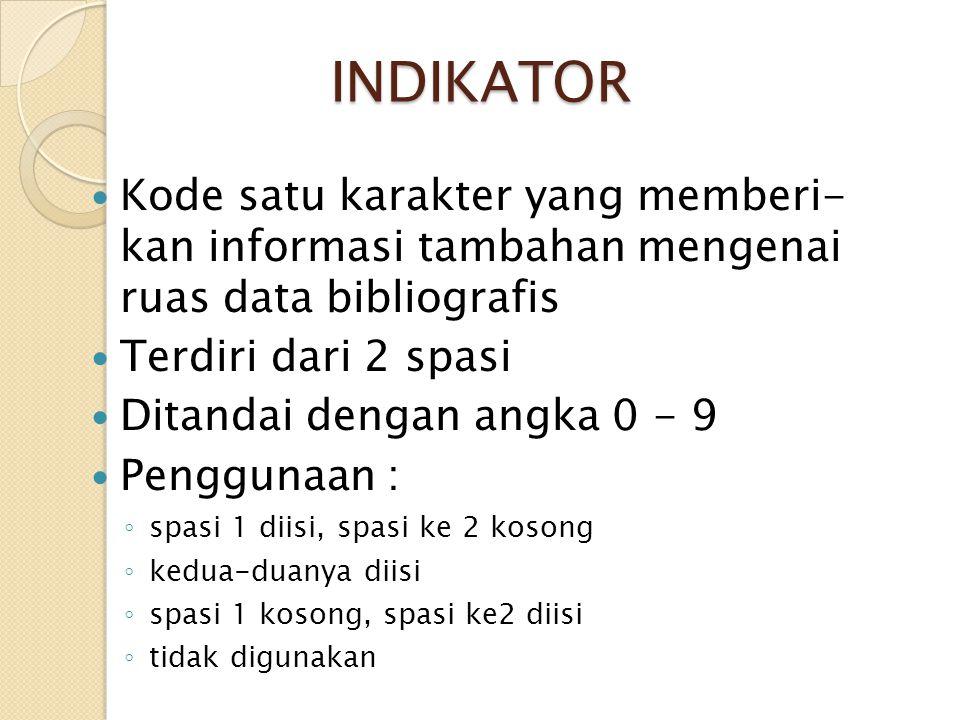 INDIKATOR Kode satu karakter yang memberi- kan informasi tambahan mengenai ruas data bibliografis Terdiri dari 2 spasi Ditandai dengan angka 0 - 9 Pen