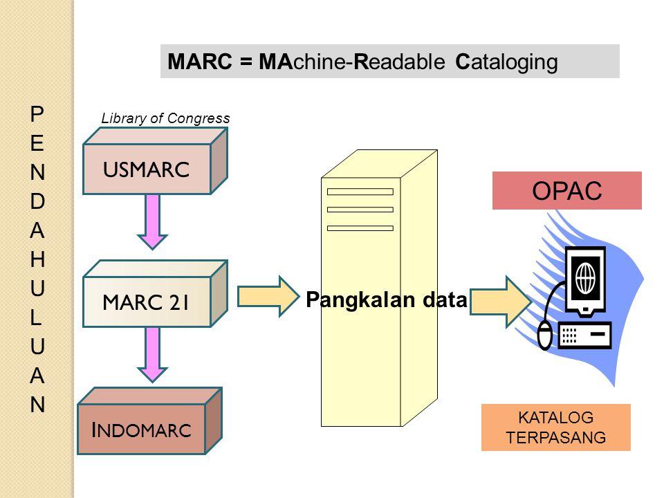 MARC 21 I NDOMARC KATALOG TERPASANG OPAC USMARC MARC = MAchine-Readable Cataloging Library of Congress Pangkalan data