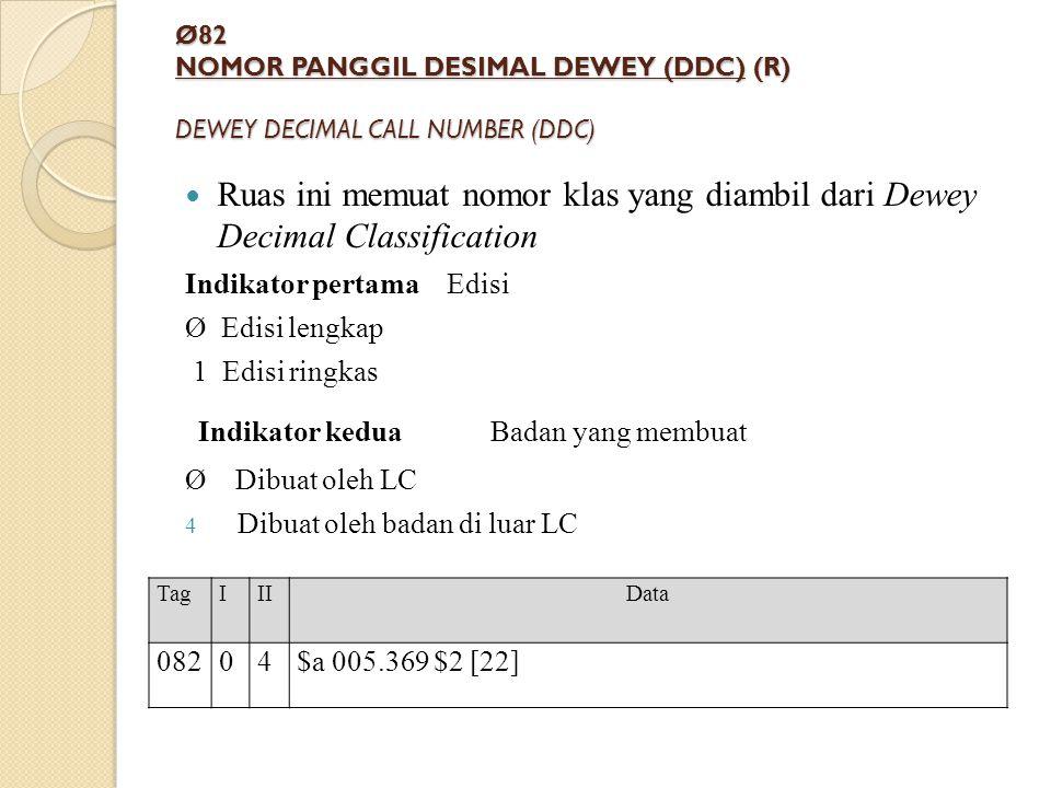 Ø82 NOMOR PANGGIL DESIMAL DEWEY (DDC) (R) DEWEY DECIMAL CALL NUMBER (DDC) Ruas ini memuat nomor klas yang diambil dari Dewey Decimal Classification In