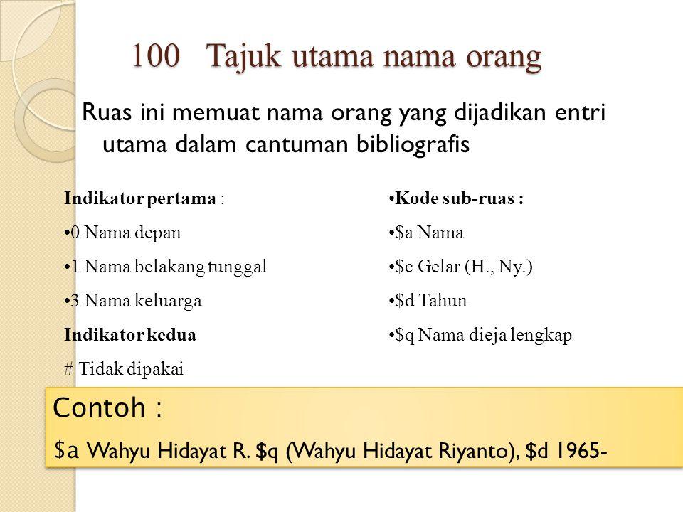 Ruas ini memuat nama orang yang dijadikan entri utama dalam cantuman bibliografis - 100 Tajuk utama nama orang Indikator pertama : 0 Nama depan 1 Nama
