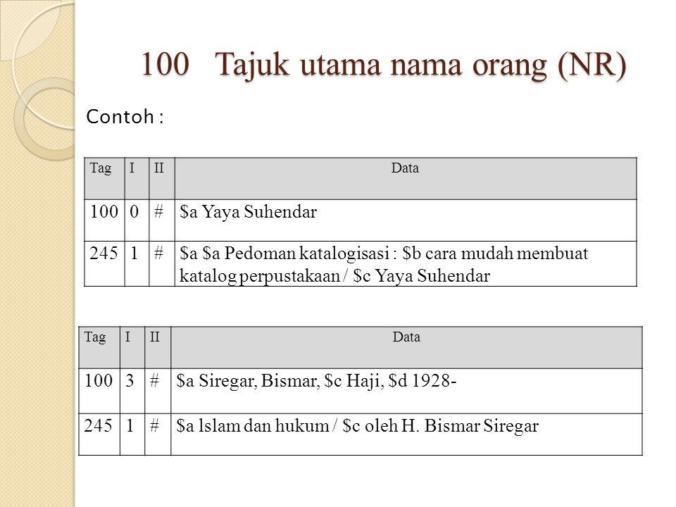 100 Tajuk utama nama orang (NR) Contoh : TagIIIData 1000#$a Yaya Suhendar 2451#$a $a Pedoman katalogisasi : $b cara mudah membuat katalog perpustakaan