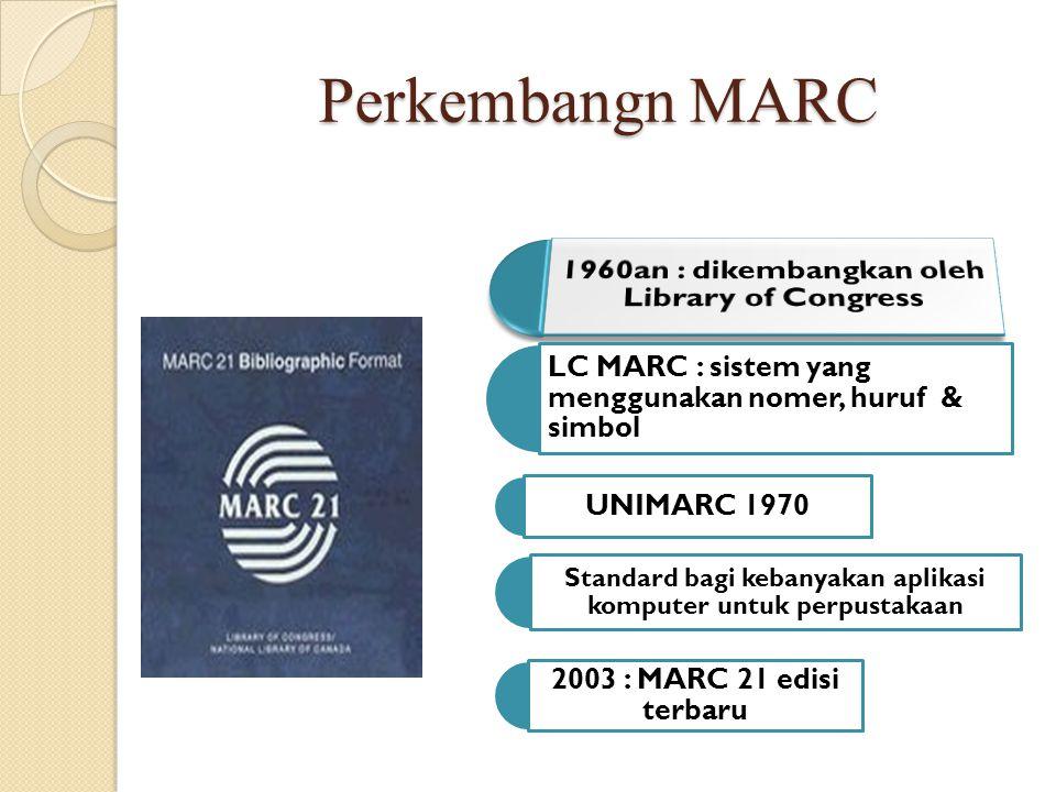 Perkembangn MARC LC MARC : sistem yang menggunakan nomer, huruf & simbol UNIMARC 1970 Standard bagi kebanyakan aplikasi komputer untuk perpustakaan 20
