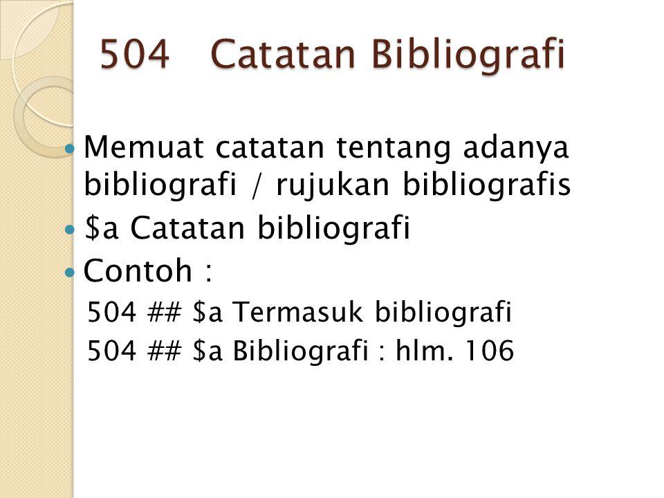 504 Catatan Bibliografi Memuat catatan tentang adanya bibliografi / rujukan bibliografis $a Catatan bibliografi Contoh : 504 ## $a Termasuk bibliograf