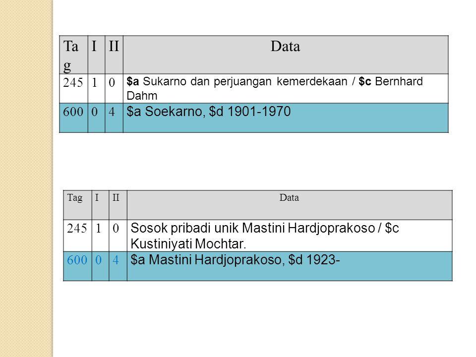 Ta g IIIData 24510 $a Sukarno dan perjuangan kemerdekaan / $c Bernhard Dahm 60004 $a Soekarno, $d 1901-1970 TagIIIData 24510 Sosok pribadi unik Mastin