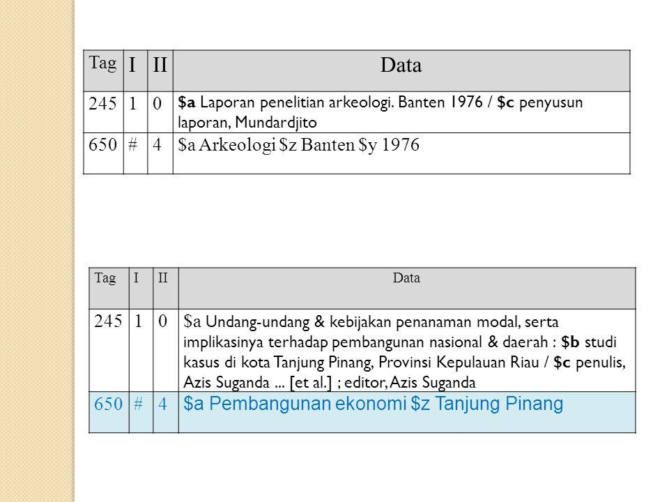 Tag IIIData 24510 $a Laporan penelitian arkeologi. Banten 1976 / $c penyusun laporan, Mundardjito 650#4$a Arkeologi $z Banten $y 1976 TagIIIData 24510