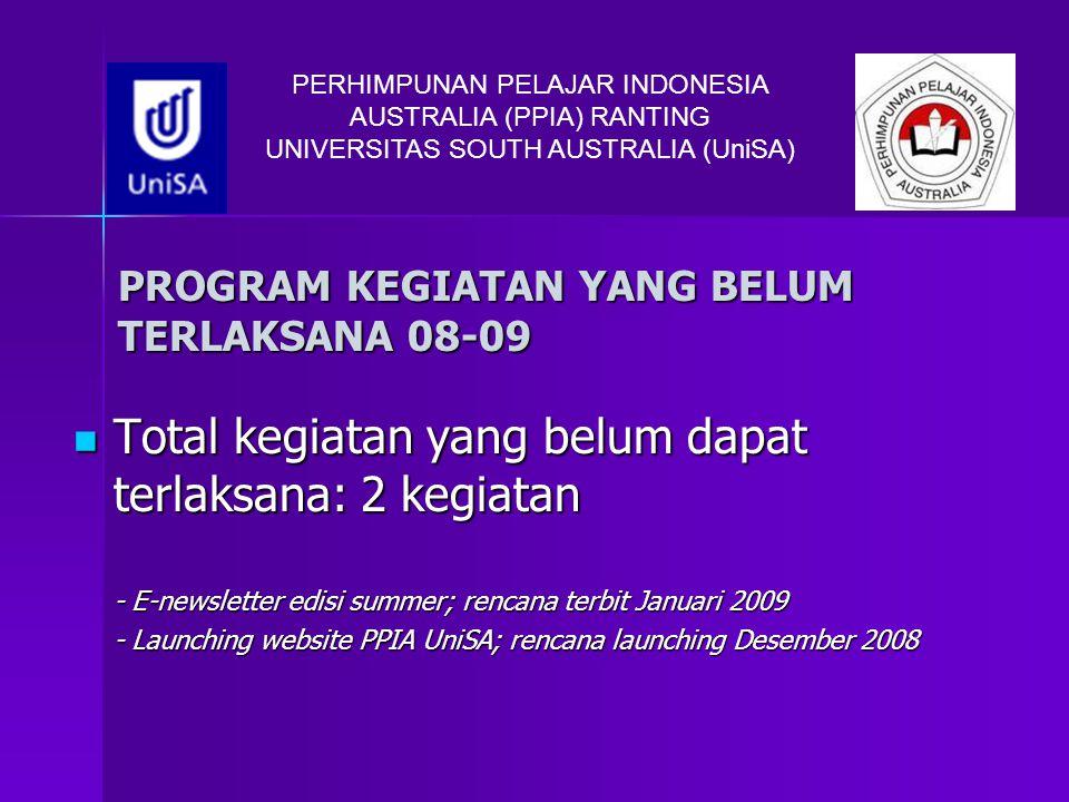 PERHIMPUNAN PELAJAR INDONESIA AUSTRALIA (PPIA) RANTING UNIVERSITAS SOUTH AUSTRALIA (UniSA) PROGRAM KEGIATAN YANG BELUM TERLAKSANA 08-09 Total kegiatan