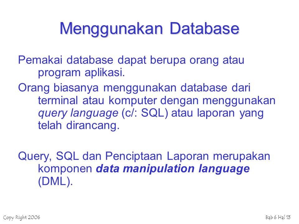 Copy Right 2006Bab 6 Hal 13 Menggunakan Database Pemakai database dapat berupa orang atau program aplikasi. Orang biasanya menggunakan database dari t