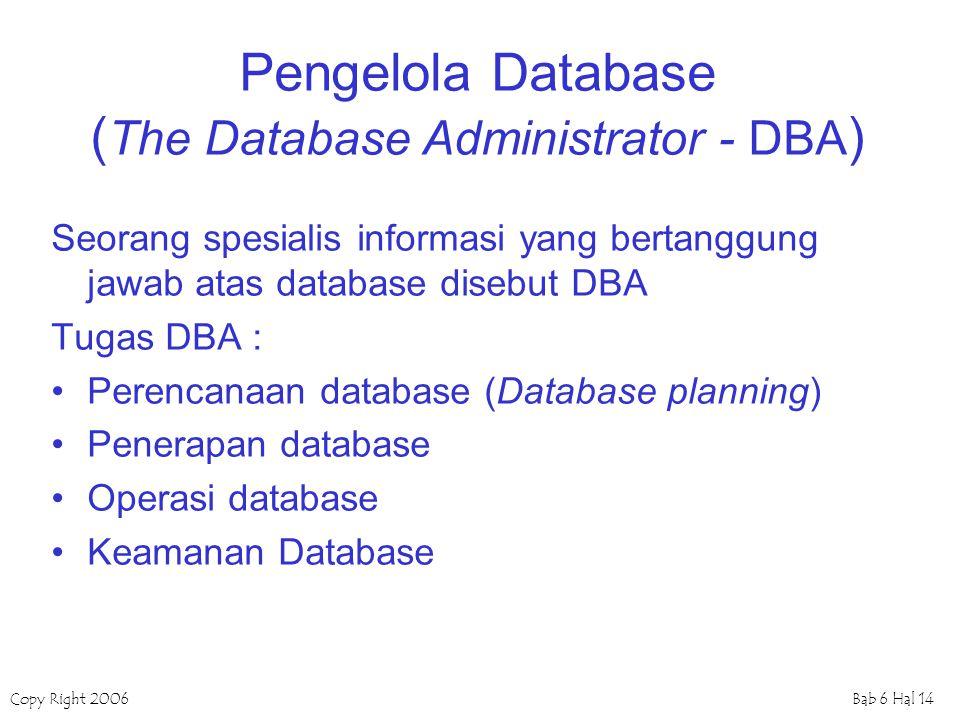 Copy Right 2006Bab 6 Hal 14 Pengelola Database ( The Database Administrator - DBA ) Seorang spesialis informasi yang bertanggung jawab atas database d