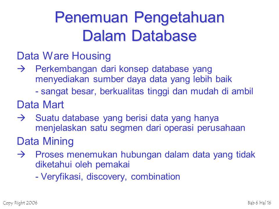 Copy Right 2006Bab 6 Hal 16 Penemuan Pengetahuan Dalam Database Data Ware Housing  Perkembangan dari konsep database yang menyediakan sumber daya dat