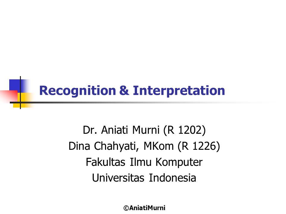 Recognition & Interpretation Dr. Aniati Murni (R 1202) Dina Chahyati, MKom (R 1226) Fakultas Ilmu Komputer Universitas Indonesia ©AniatiMurni