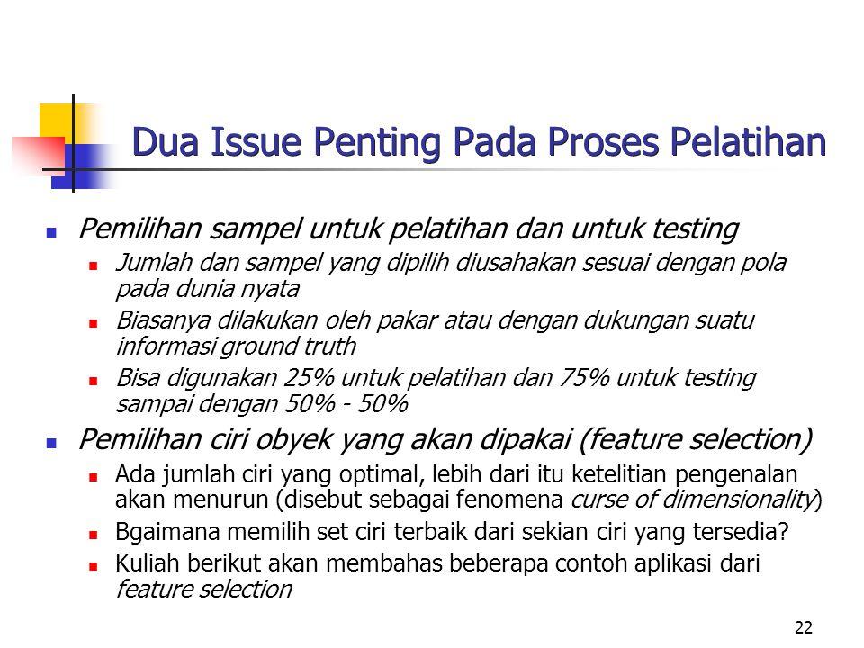 22 Dua Issue Penting Pada Proses Pelatihan Pemilihan sampel untuk pelatihan dan untuk testing Jumlah dan sampel yang dipilih diusahakan sesuai dengan